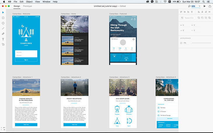 Interface of Adobe XD