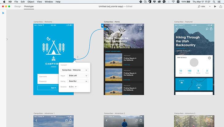 Prototype mode in Adobe XD