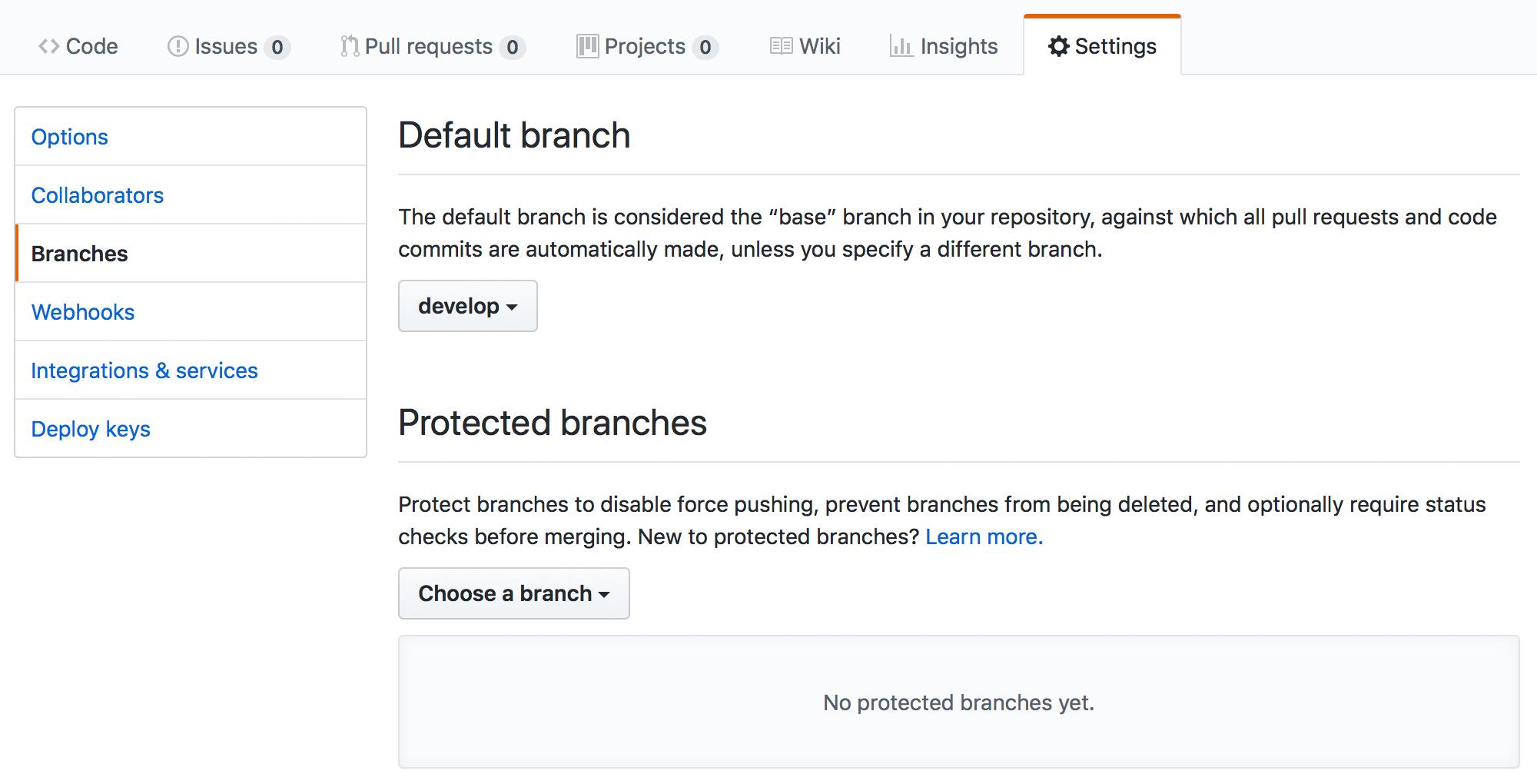 Develop as Default Branch