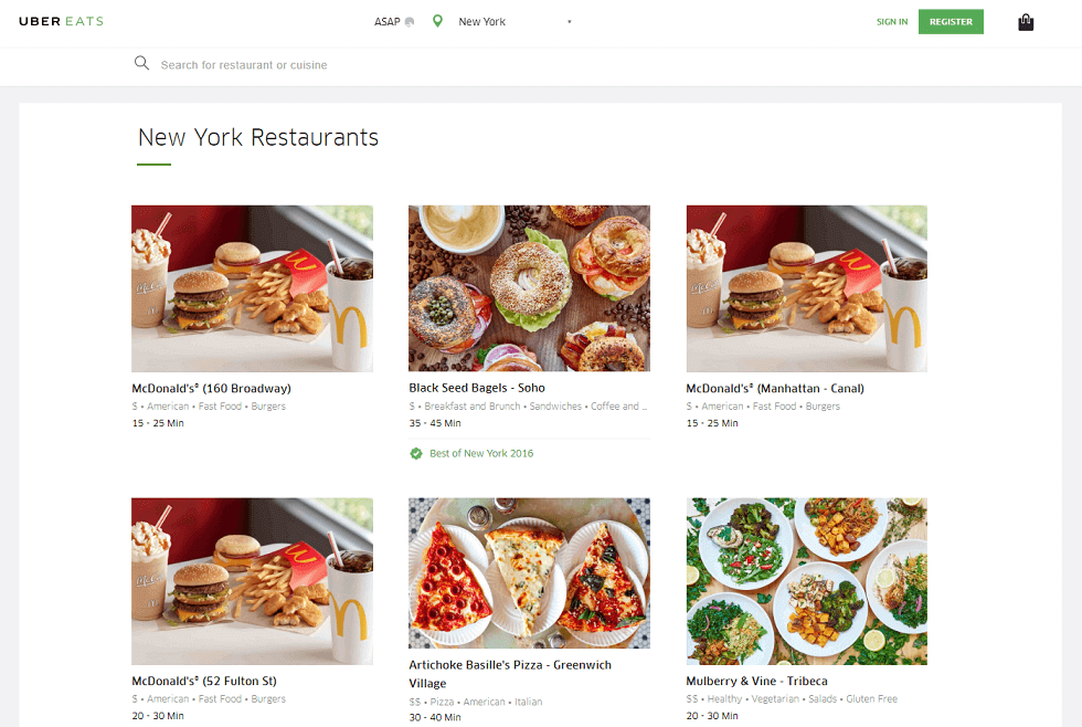 restaurant search feature