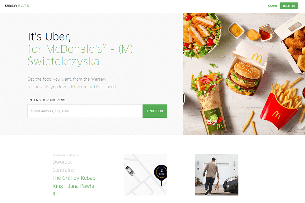 UberEats home page design