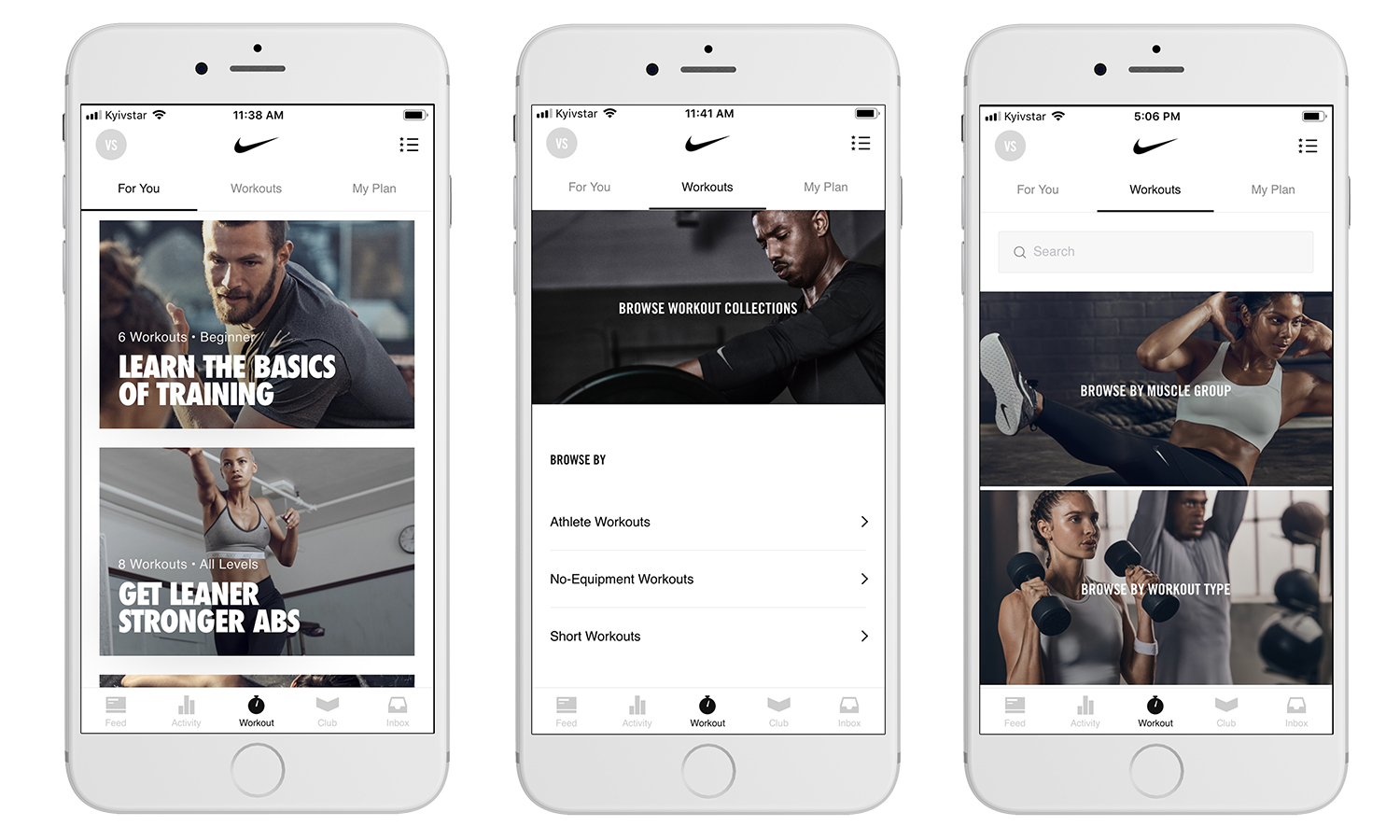 Development of an app like Nike Training Club