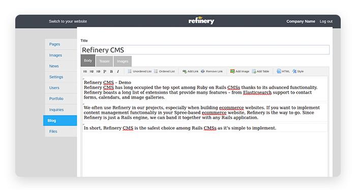 Refinery CMS admin panel