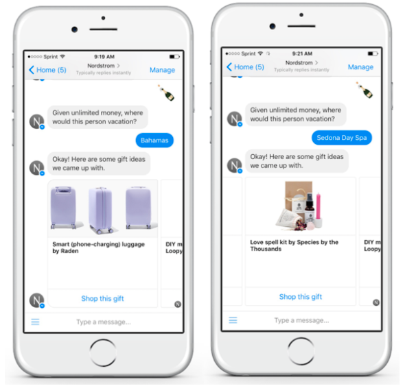 A chatbot by Nordstrom on Messenger
