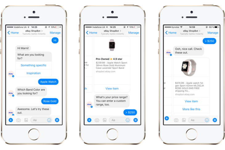 Shopbot is an Ebay's chatbot on Messenger