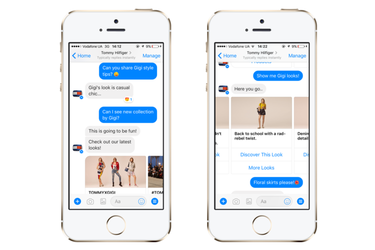 A chatbot by Tommy Hilfiger on Messenger