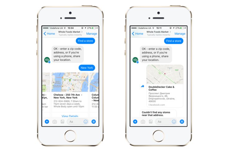 A chatbot by Whole Foods on Messenger