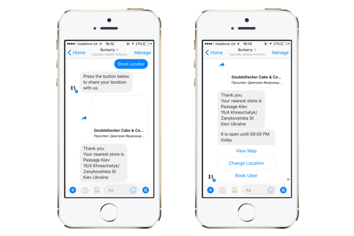 A chatbot by Burberry on Messenger