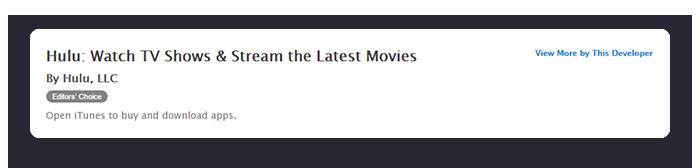Hulu App for iOS Name Sample