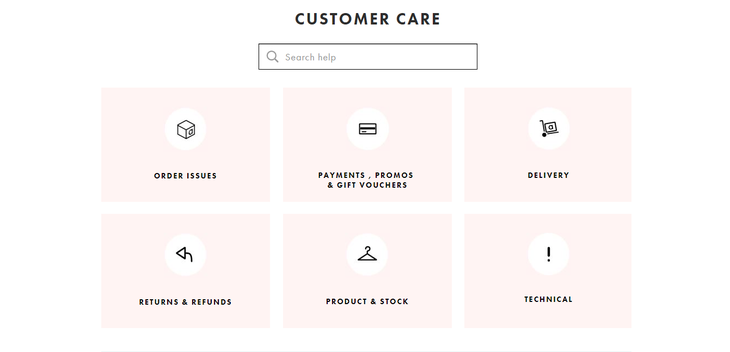 Customer care page navigation