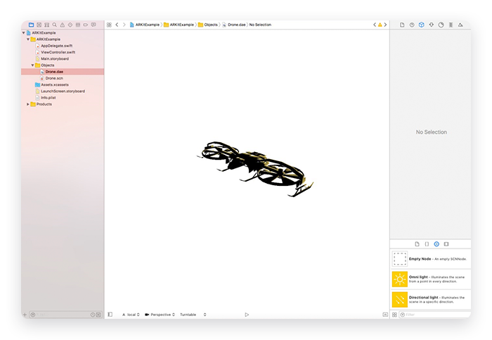Quadcopter Added to Xcode for AR App